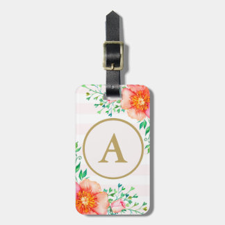 Floral Gold Monogram Blush Pink White Stripe Luggage Tag