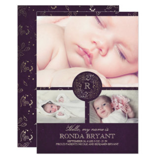 Floral Gold Monogram Vintage Baby Photos Birth Card