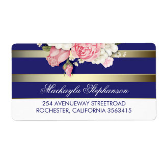 Floral Gold Navy and White Stripes Wedding Shipping Label