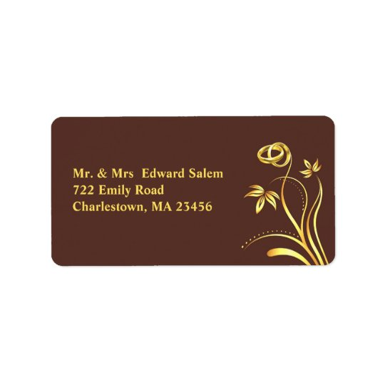 Floral Gold Rings Medium shipping Labels