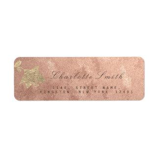 Floral Gold Rose Gold Copper RSVP Return Address Label