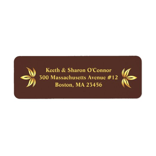 Floral Gold Small Return Address Labels