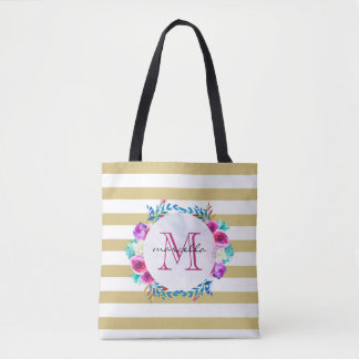 Floral & Gold Stripes Monogram | Tote
