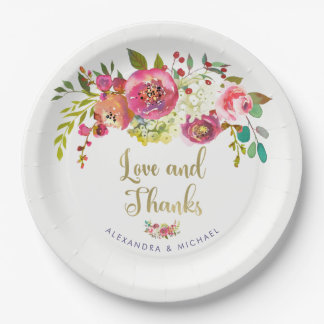 Floral Gold | Watercolor Wedding Love and Thanks Paper Plate
