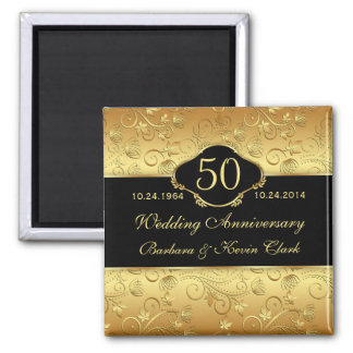 Floral golden black 50th Wedding Anniversary Square Magnet