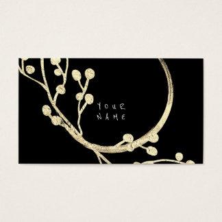 Floral Golden Foil Jungle Glam Woodland Black Glam Business Card