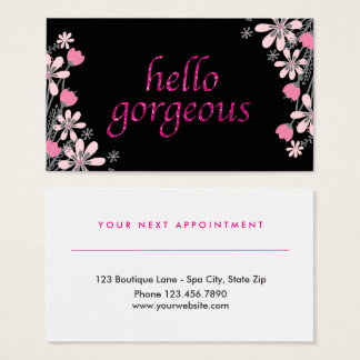 Floral Gorgeous | Beauty Salon Appointment Pink Business Card