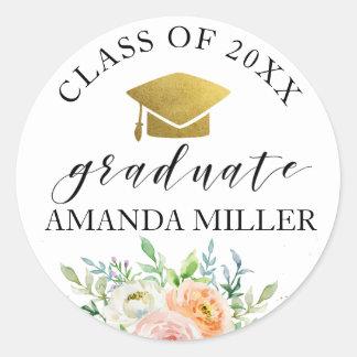 Floral graduate personalised graduation sticker