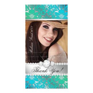 Floral Graduation Photo Card Silver Blue Gr Damask