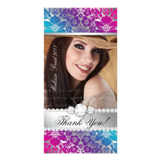 Floral Graduation Photo Card Silver PB Damask