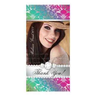 Floral Graduation Photo Card Silver PGB Damask
