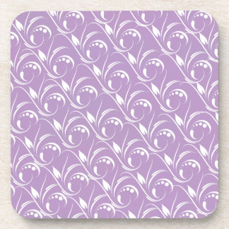 Floral Graphic Design On African Violet Background Drink Coasters