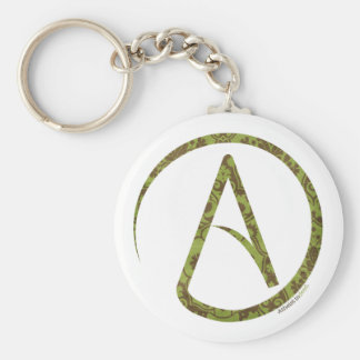 Floral Green and Brown Atheist Keychain