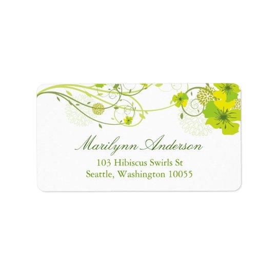 Floral Green Hibiscus Swirls Chic Wedding Labels