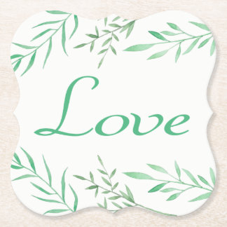 Floral Green Laurel Leaves Wedding Love Paper Coaster