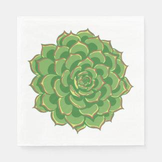 Floral Green Succulent Cactus - Wedding Party Paper Napkin