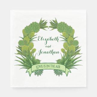 Floral Green Succulent Cactus Wreath Wedding Paper Serviettes