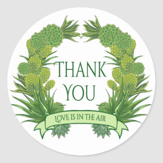 Floral Green Thank You Succulent Cactus Southwest Classic Round Sticker