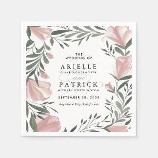 Floral Greenery Vintage Rustic Wedding Napkins Paper Napkins