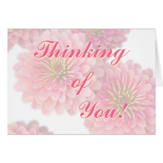 Floral Greeting Card-Pink Zinnia Flowers Card