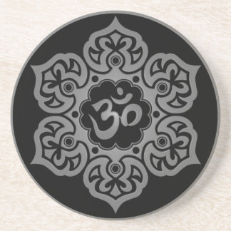 Floral Grey and Black Aum Design Coaster