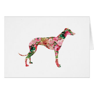 Floral Greyhound Blank Card