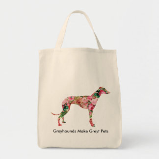 Floral Greyhound Shopping Tote Grocery Tote Bag