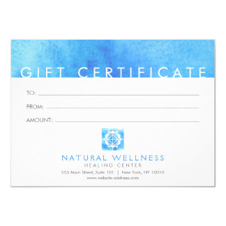 Floral Grid Wellness Logo Blue Gift Certificate Card