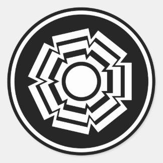 Floral Groove Stickers, Black Round Sticker