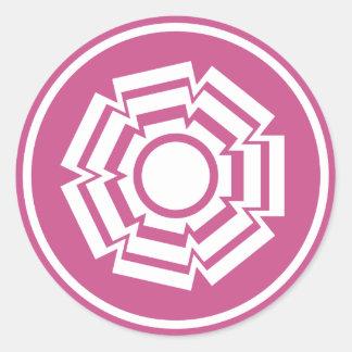 Floral Groove Stickers, Magenta Round Sticker