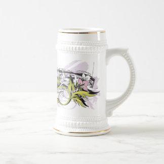 floral grunge leaves mugs