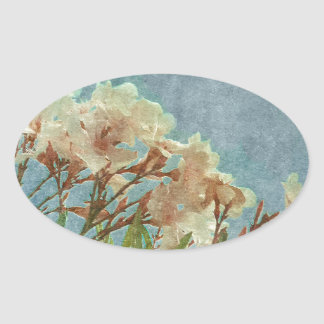 Floral Grunge Vintage Photo Oval Sticker