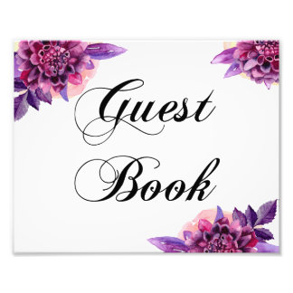 Floral guest book sign. Purple wedding poster