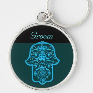 Floral Hamsa (Blue) (Wedding) Silver-Colored Round Key Ring
