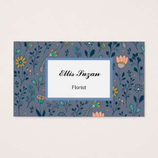 Floral hand drawn pattern   Doodle art Business Card
