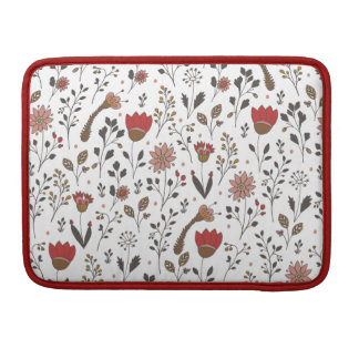 Floral hand drawn pattern   Doodle art Sleeves For MacBooks