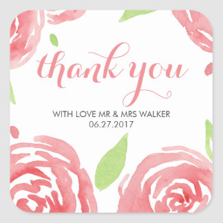 Floral Happiness Thank You Square Sticker