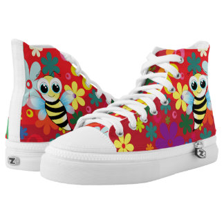 Floral happy bee high tops