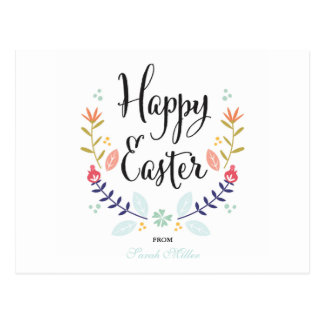 Floral Happy Easter Postcard