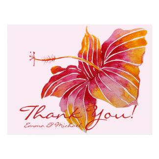 Floral Hawaii Hibiscus Thank You Wedding Postcard