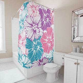 Floral Hawaiian Hibiscus Flowers Pink Teal Purple Shower Curtain