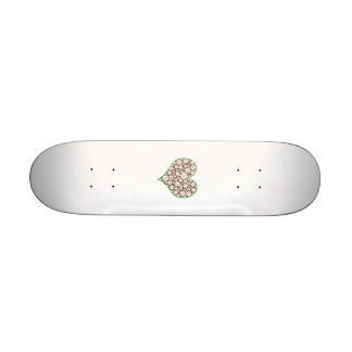 Floral heart custom skate board