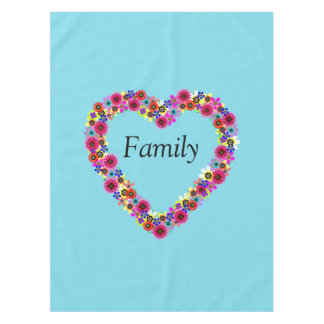Floral Heart Family Personalized Tablecloth