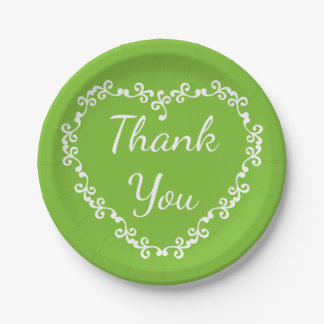 Floral Heart Green And White Thank You Wedding Paper Plate