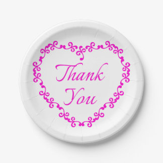 Floral Heart Hot Pink And White Thank You Wedding Paper Plate