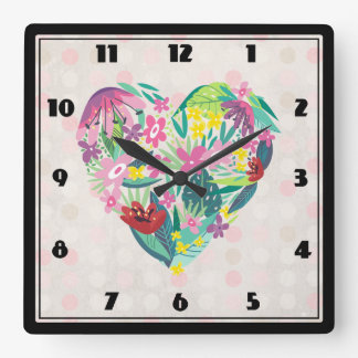 Floral Heart Illustration in Pink and Green Square Wall Clock