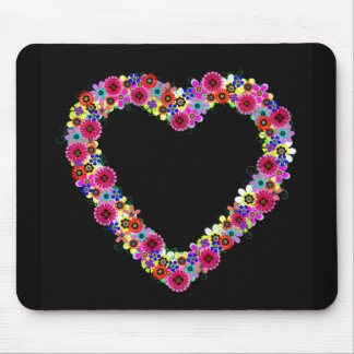 Floral Heart in Black Mousepad