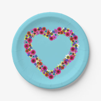 Floral Heart in Light Blue 7 Inch Paper Plate