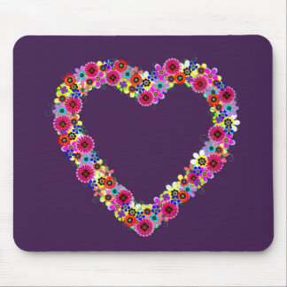 Floral Heart in Purple Mouse Pads