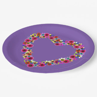 Floral Heart in Purple 9 Inch Paper Plate